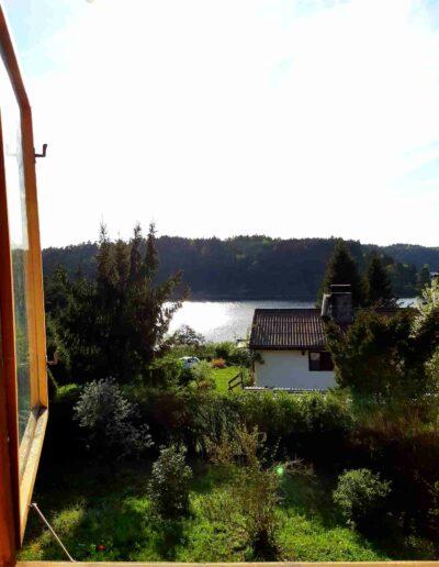 výhled na Orlík z terasy